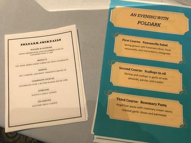 Customized menus at Backstage Bistro during the Poldark screening