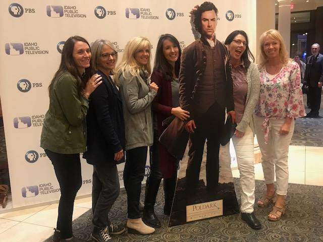 Poldark fans pose with their favorite Masterpiece hero before the screening