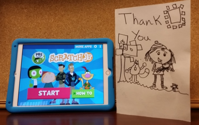 "Following an ""Hour of Code"" workshop, students in Weiser sent Wardle a thank-you card adorned with PBS KIDS characters Peg + Cat."